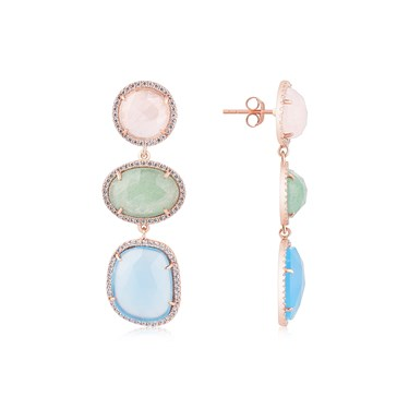 Argento Rose Gold Multicolour Radiance Earring  - Click to view larger image
