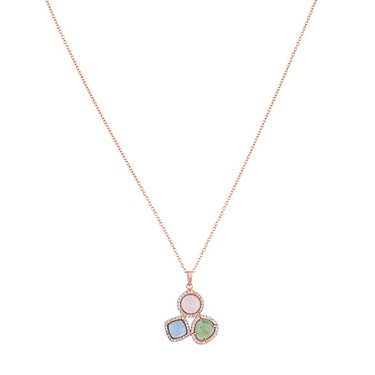 Argento Rose Gold Radiance Pink Blue + Green Necklace  - Click to view larger image