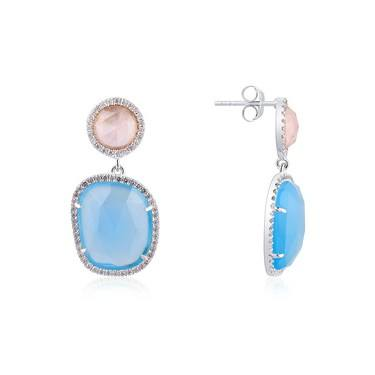 Argento Silver Blue + Pink  Radiance Drop Earrings  - Click to view larger image