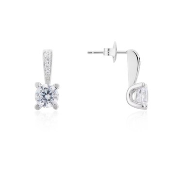 Argento Silver Square Crystal Earrings  - Click to view larger image