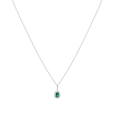 Argento Silver Emerald Oval Halo Necklace  - Click to view larger image