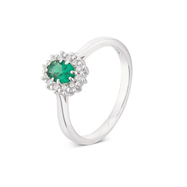 Argento Silver Emerald Oval Halo Ring  - Click to view larger image