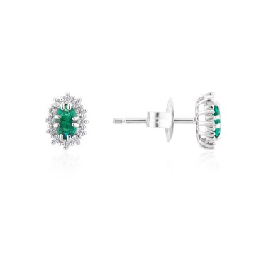 Argento Silver Emerald Oval Halo Earrings  - Click to view larger image
