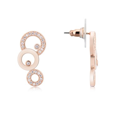 August Woods Rose Gold Mismatched Loop Earrings  - Click to view larger image