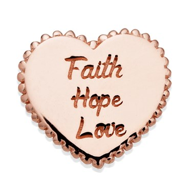 Storie Rose Gold Faith Hope & Love Charm  - Click to view larger image