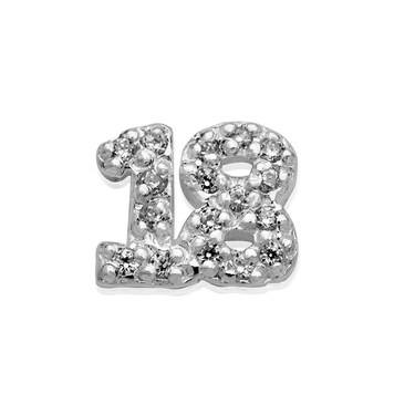 Storie Silver Crystal 18 Charm   - Click to view larger image