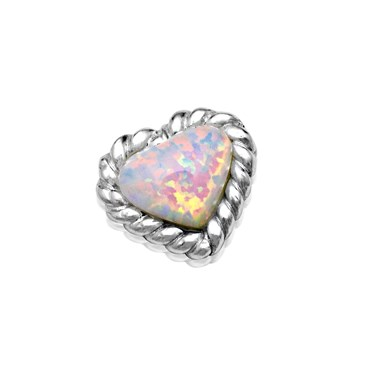 Storie Silver Opal Heart Charm   - Click to view larger image