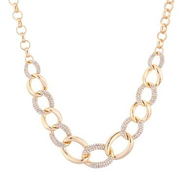 August Woods Gold Crystal Chain Necklace  - Click to view larger image