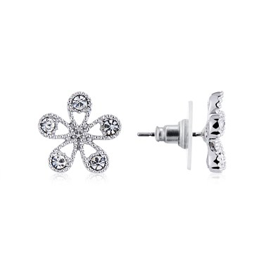 August Woods Silver Crystal Flower Stud Earrings  - Click to view larger image