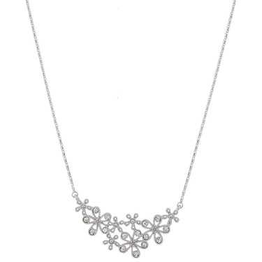 August Woods Silver Crystal Flower Necklace  - Click to view larger image