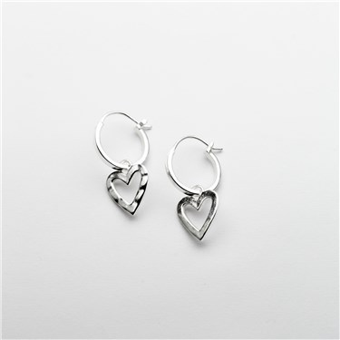 Tutti & Co Silver Heart Hoop Earring  - Click to view larger image