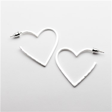 Tutti & Co Silver Inspire Heart Hoop Earrings  - Click to view larger image