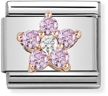 Nomination Rose Gold Pink Crystal Flower Charm   - Click to view larger image