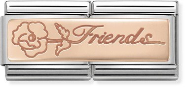 Nomination Rose Gold Double Friends Flower Charm   - Click to view larger image