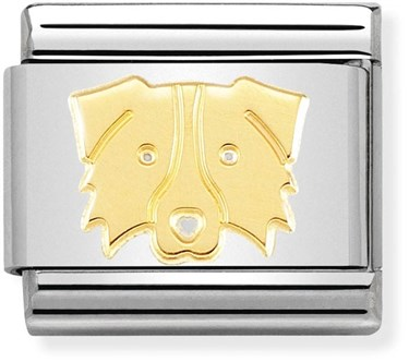 Nomination Gold Border Collie Dog Charm  - Click to view larger image