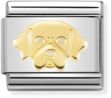 Nomination Gold Golden Retriever Dog Charm  - Click to view larger image