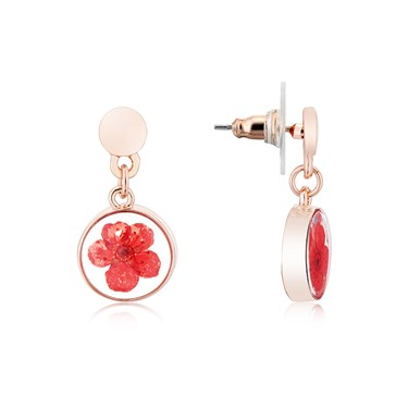 August Woods Rose Gold Hidden Flower Drop Earrings  - Click to view larger image