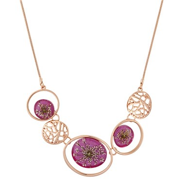 August Woods Pink + Rose Gold Hidden Flower Necklace  - Click to view larger image