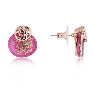 August Woods Pink + Rose Gold Hidden Flower Earrings  - Click to view larger image