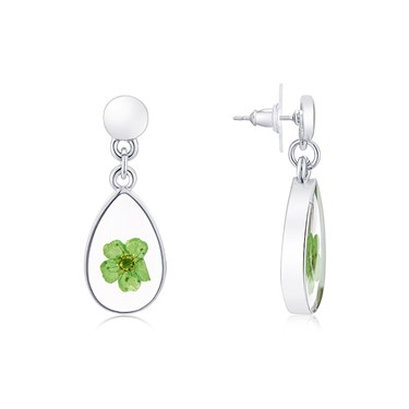 August Woods Silver Hidden Flower Drop Earrings  - Click to view larger image