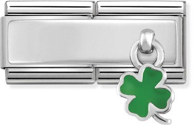 Nomination Silver Double Engravable Clover Charm   - Click to view larger image