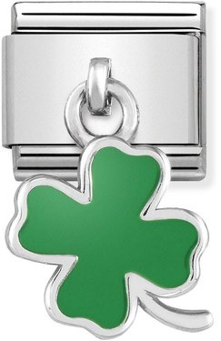 Nomination Green Four Leaf Clover Drop Charm   - Click to view larger image