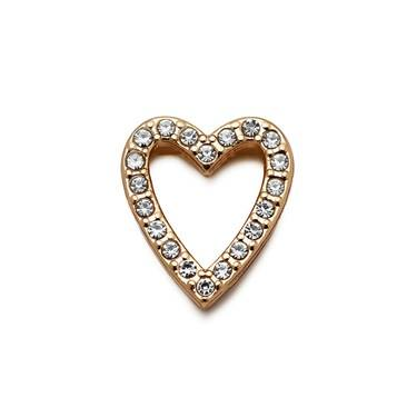 Karma Open Gold Crystal Heart Charm  - Click to view larger image