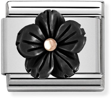 Nomination Black + Rose Gold Flower Charm   - Click to view larger image