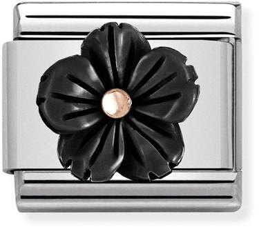 Nomination Black + Rose Gold Flower Charm