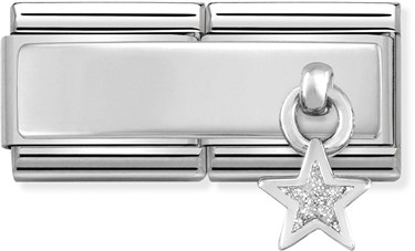 Nomination Silver Double Engravable Star Charm   - Click to view larger image