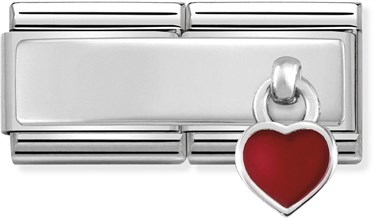Nomination Silver Double Engravable Red Heart Charm   - Click to view larger image