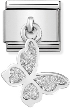 Nomination Glitter Butterfly Hanging Charm   - Click to view larger image