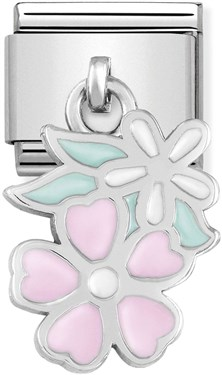 Nomination Pink + White Hanging Flower Charm   - Click to view larger image