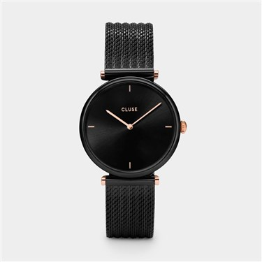 CLUSE Triomphe Black Mesh & Rose Gold Watch  - Click to view larger image