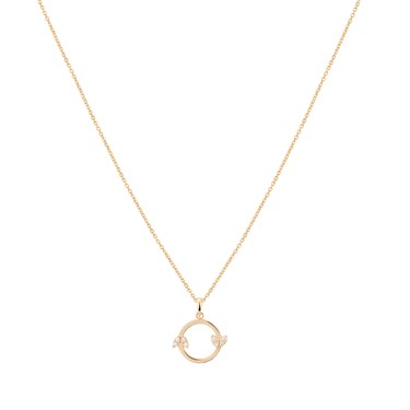 Argento Gold Openwork Circle + Leaf Necklace   - Click to view larger image