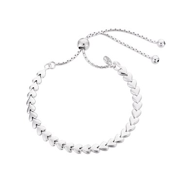 Argento Silver Heart Pull Bracelet  - Click to view larger image