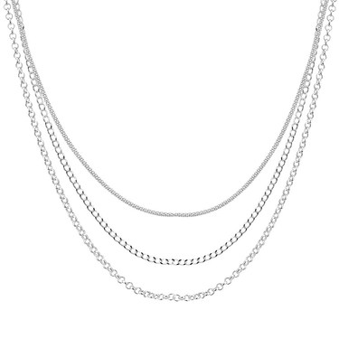 Argento Silver Short Layer Chain Necklace  - Click to view larger image