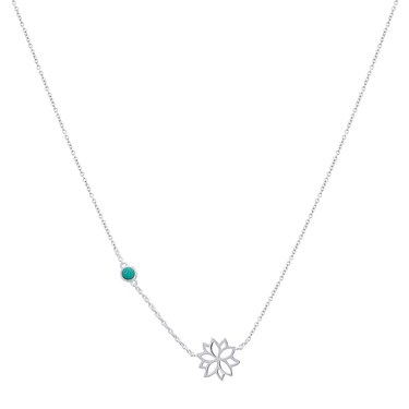 Argento December Birth Flower Poinsettia Necklace  - Click to view larger image