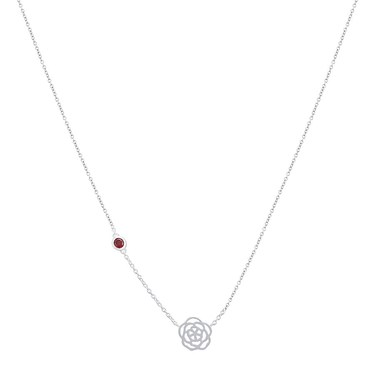 Argento January Birth Flower Carnation Necklace  - Click to view larger image