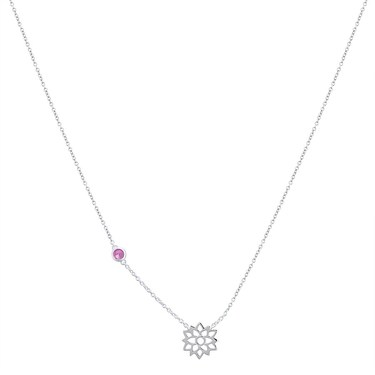 Argento July Birth Flower Waterlily Necklace  - Click to view larger image