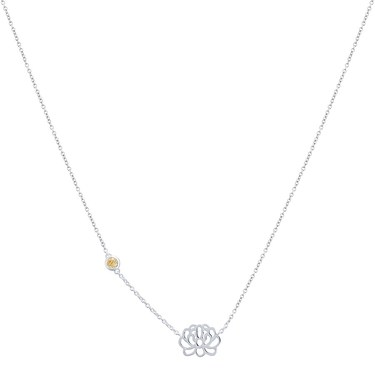 Argento November Birth Flower Chrysanthemum Necklace  - Click to view larger image