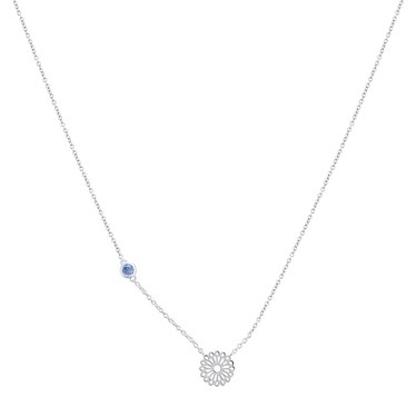 Argento September Birth Flower Aster Necklace  - Click to view larger image