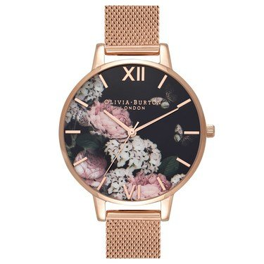 Olivia Burton Argento Exclusive Floral Rose Gold Mesh Watch  - Click to view larger image
