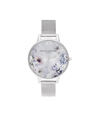 Olivia Burton Sunlight Floral Silver Mesh Watch  - Click to view larger image