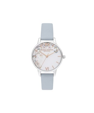 Olivia Burton Pretty Blossom Chalk Blue + Silver Watch  - Click to view larger image