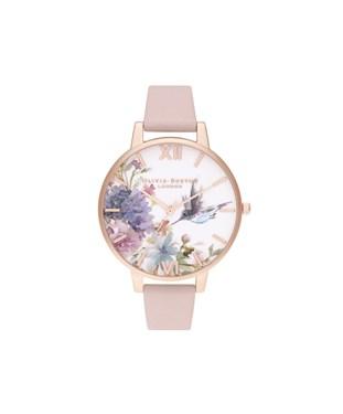 Olivia Burton Painterly Prints Hummingbird Pink Watch   - Click to view larger image