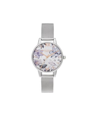 Olivia Burton Bejewelled Floral Silver Mesh Watch  - Click to view larger image