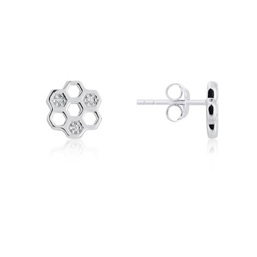 Argento Silver Honeycomb Earrings  - Click to view larger image