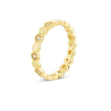 Argento Gold Crystal Honeycomb Ring  - Click to view larger image