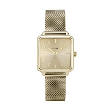 CLUSE La Tetragone Gold Mesh Watch  - Click to view larger image